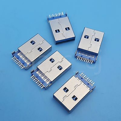 5Pcs Hi-Speed USB 3.0 Male Type A SMT SMD PCB Solder Plug Connector