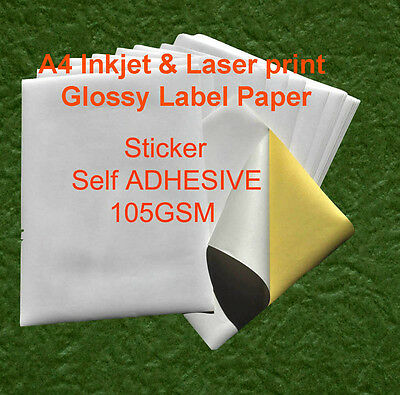 40 X A4 Glossy 105GSM Label Sticker Self Adhesive Inkjet and laser Print Paper