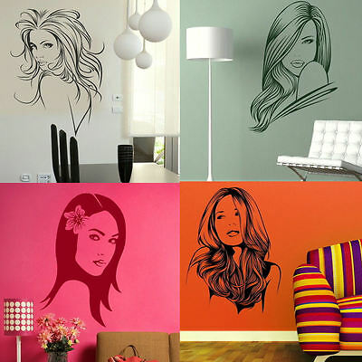 Salon Wall Stickers! Womens Beautiful Hair Interior Art, Hairdressing Transfers