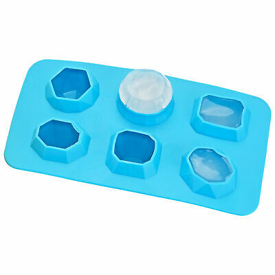 Jewels Diamonds Gem Shape 6 Ice Cube Tray Mold Blue Rubber Novelty Gag Gift Rock