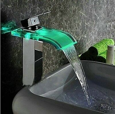 Beautiful Chrome Finish LED Waterfall Glass Bathroom Sink Faucet Tap FGHRT