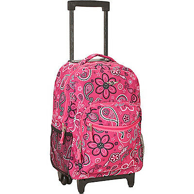 """Rockland Luggage Roadster 17"""" Rolling Backpack - Pink Wheeled Backpack NEW"""