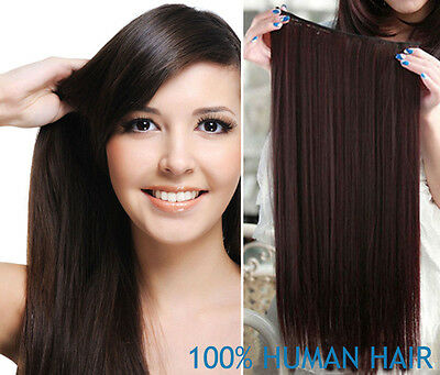One Piece Clip in Remy Human Hair Extensions 100% Real Full Head Set 14''-26''