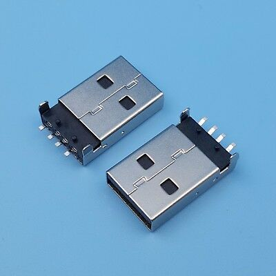 10Pcs USB Male Plug Type A Black SMT PCB Solder Connectors