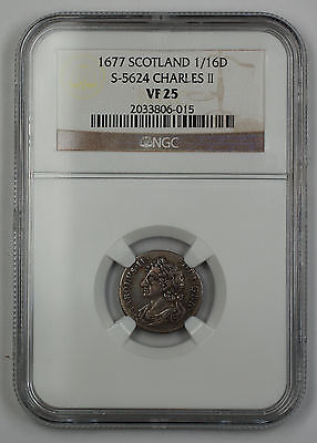 1677 Scotland 1/16 Dollar Silver Coin S-5624 Charles II NGC VF-25 AKR