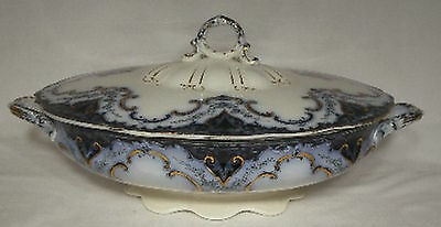 """MEAKIN,ALFRED china CAMBRIDGE Oval Covered Vegetable Serving Bowl @ 9 1/2""""crazed"""