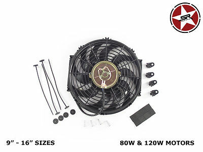 "Stoney Racing Electric Radiator Fan 9"" 10"" 12"" 14"" 16"" 80W & 120W Slim Line 12v"