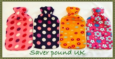 Large Hot Water Bottle With Removable Fleece Cover Soft Warm Xmas Gift 1L/2L