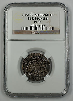 (1451-60) Scotland 4 Pence Groat Silver Coin S-5233 James II NGC VF-30 AKR