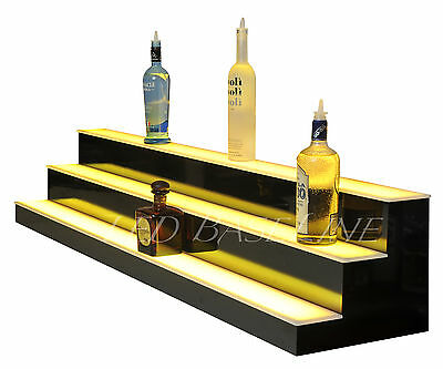 "55"" LED Lighted Liquor Bootle Display Bar Shelf, 3 Step, Shelves Shelving home"