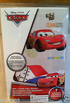 DISNEY CARS LIGHTING MCQUEEN GIANT WALL DECALS 7 DECALS PEEL & STICK REMOVABLE