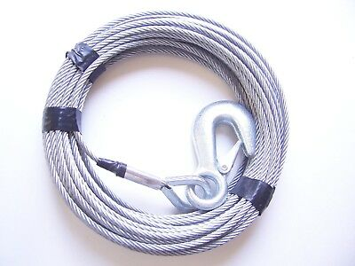 "3/16"" x 50 ft Galvanized Wire Rope Winch Cable with Eye Hook"