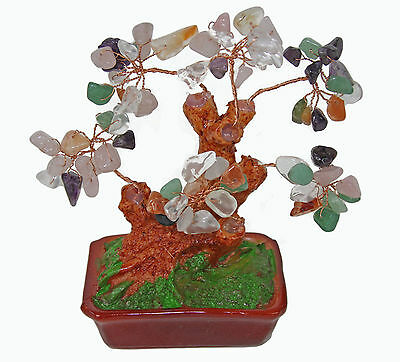 Chinese Feng Shui Bonsai Multi Color Natural Crystal Gem Stone Money Tree 5""