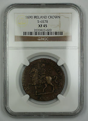 1690 Ireland Crown Gunmoney Brass Coin S-6578 James II NGC XF-45 AKR