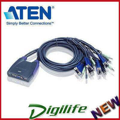 Aten Petite 4 Port USB VGA KVM Switch with Audio - 0.9m Cables Built In CS-64US