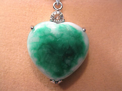 Large green jade heart shape pendant (without chain)
