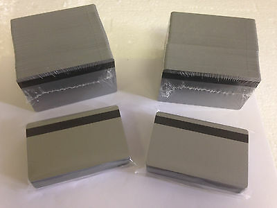 250 Silver PVC Cards - HiCo Mag Stripe 2 Track - CR80 .30 Mil for ID Printers