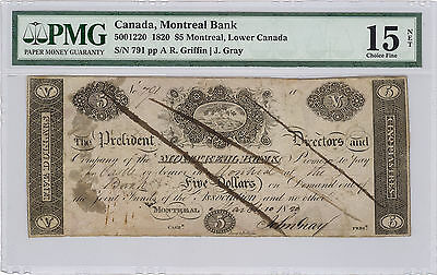$5 Montreal Bank (NOT Bank of Montreal) 1820; Choice Fine 15 graded by PMG
