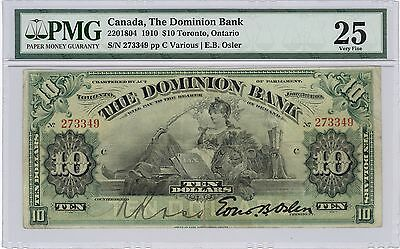 1910 $10 Dominion Bank of Canada; PMG VF 25