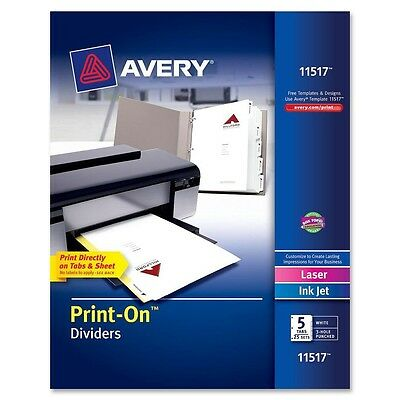 """Avery 11517 Print-On Index Dividers, 5-Tab, 3-HP, 9-1/2""""x11"""", 25 Sets/BX, White"""