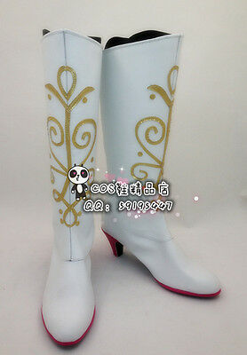 Snow Queen Princess Anna White Long Party Cosplay Shoes Boots X002