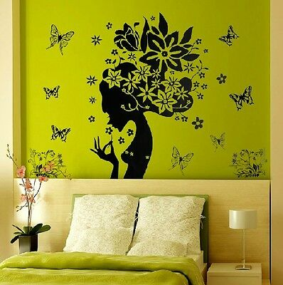Butterfly Flower Fairy Floral Girl Removable Wall Sticker Decor Decals Vinyl ae