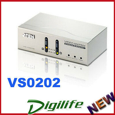 Aten 2 in 2 Out VGA Video Matrix Switch w/ Audio - 1920x1440 up to 65m VS-0202