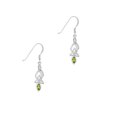 Celtic Sterling Silver Earrings with Peridot and Trinity Knot Earrings 9345