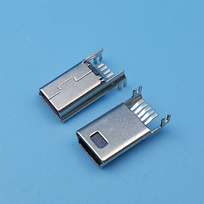 10Pcs Mini USB Type B 5Pin Male SMT SMD Plug PCB Mount Solder Connector