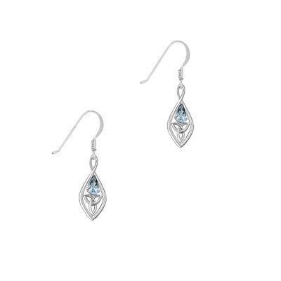 Celtic Sterling Silver Earrings with Blue Topaz and Trinity Knot 9350
