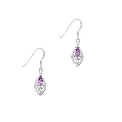 Celtic Sterling Silver Earrings With Amethyst And Trinity Knot 9350