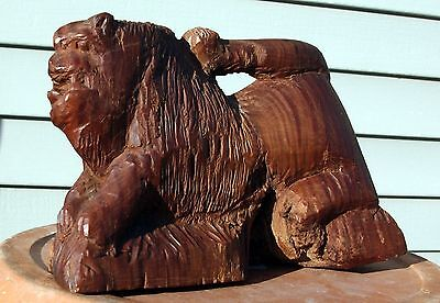 Antique American Folk Art Hand Carved Tree Burl Lion Carving Wood Wooden OOAK