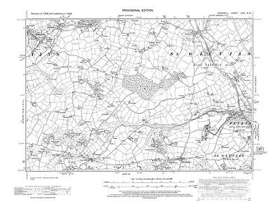Old map of Torpoint repro 46-SW Cornwall Devonport 1919