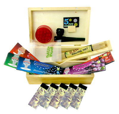 SMOKERS ROLLING BOX Wooden Stash Storage Box Gift Set Rolling Papers Grinder