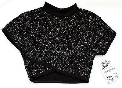Body Wrappers 865 Black Women's Medium (8-10) Mock Neck Glitter Crop Top