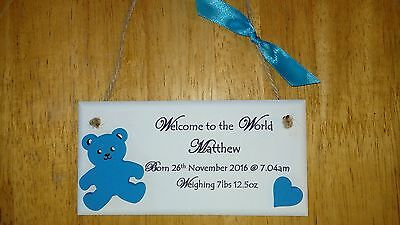 personalised new baby plaque sign gifts