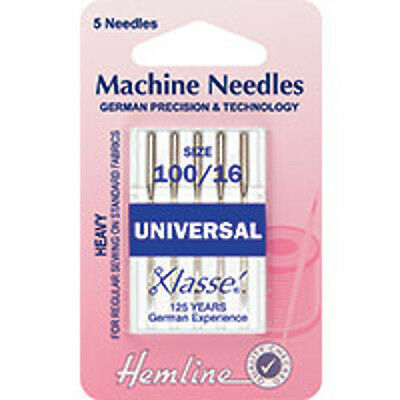 100/16 SIZE :  Universal Machine Needles: Heavy - HEMLINE - H100.100