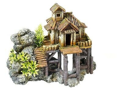 Wood House on Rocks with Plants Fish Tank Cave Decoration Aquarium Ornament