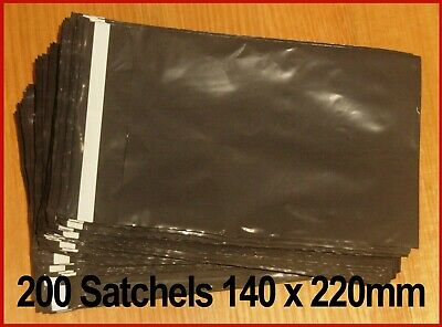 100pcs 140 x 220mm Courier bag poly, grey plastic mail/post satchel self seal.