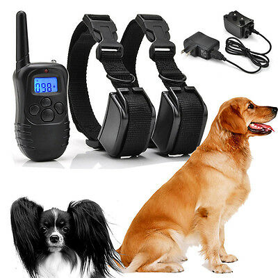 2x Dog 100LV Level LCD Shock Training w/Remote Waterproof Rechargeable Collar