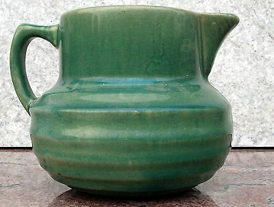 Antique Art Deco Ribbed Green Pottery Batter Pitcher McCoy Sanitary Stoneware