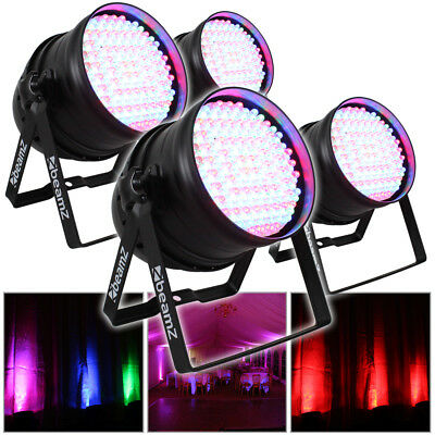 4x Beamz PAR 64 Can Disco Colour LED Party DJ Lighting Wall Lights Uplighters