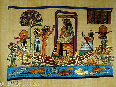 "Cleopatra On Boat Original Hand Painted Papyrus 12""X16"" (30x40 Cm)"