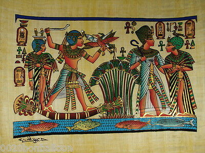 """Mena Hunting & Fishihng Party Original Hand Painted Papyrus 12""""X16""""(30x40 Cm)"""