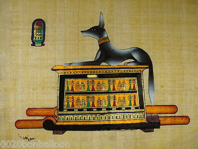 "Pharaoh Egyptian  Anubis  Original Hand Painted Papyrus 12""X16"" (30x40 Cm)"