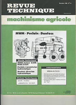 (1A)Revue Technique Machinisme Agricole Mwm / Poclain / Danfoss / Lamborghini