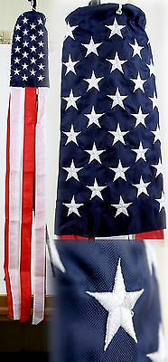 """60"""" Embroidered U.S. USA American Flag 100% Polyester Wind Sock W/Grommets"""