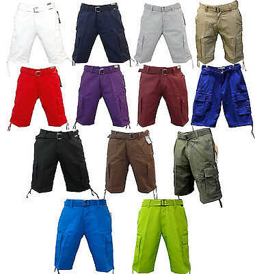 25e21f6547 New Men Regal Wear Many Different Solid Colors Of Cargo Shorts With Belt  9Ap10