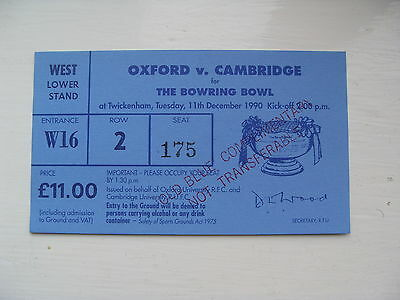 Oxford v Cambridge 1990 Used Rugby Ticket