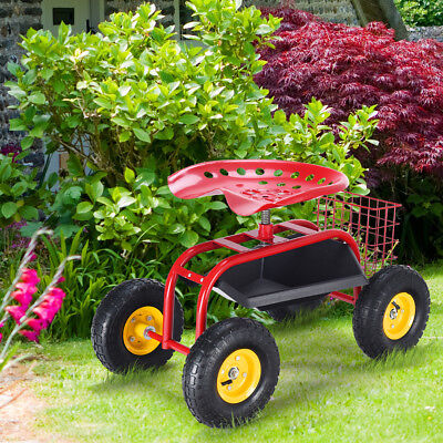 Rolling Garden Cart Work Seat With Tool Tray Heavy Duty Gardening Planting  Red